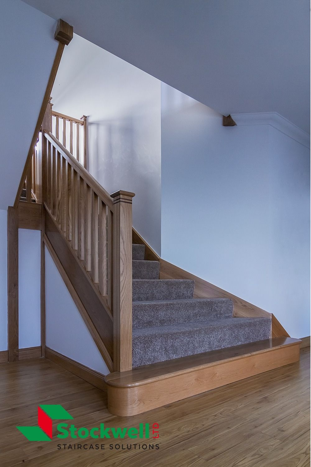 Best Solid Oak Staircase Walnut Inlay Bands Wrap Around 640 x 480