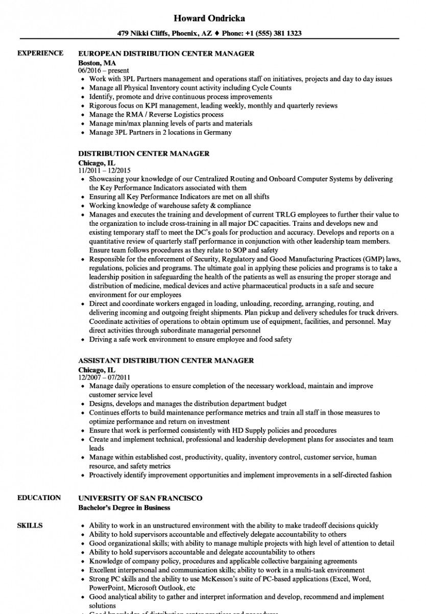 12 Warehouse Supervisor Resume Pattern in 2020 Manager
