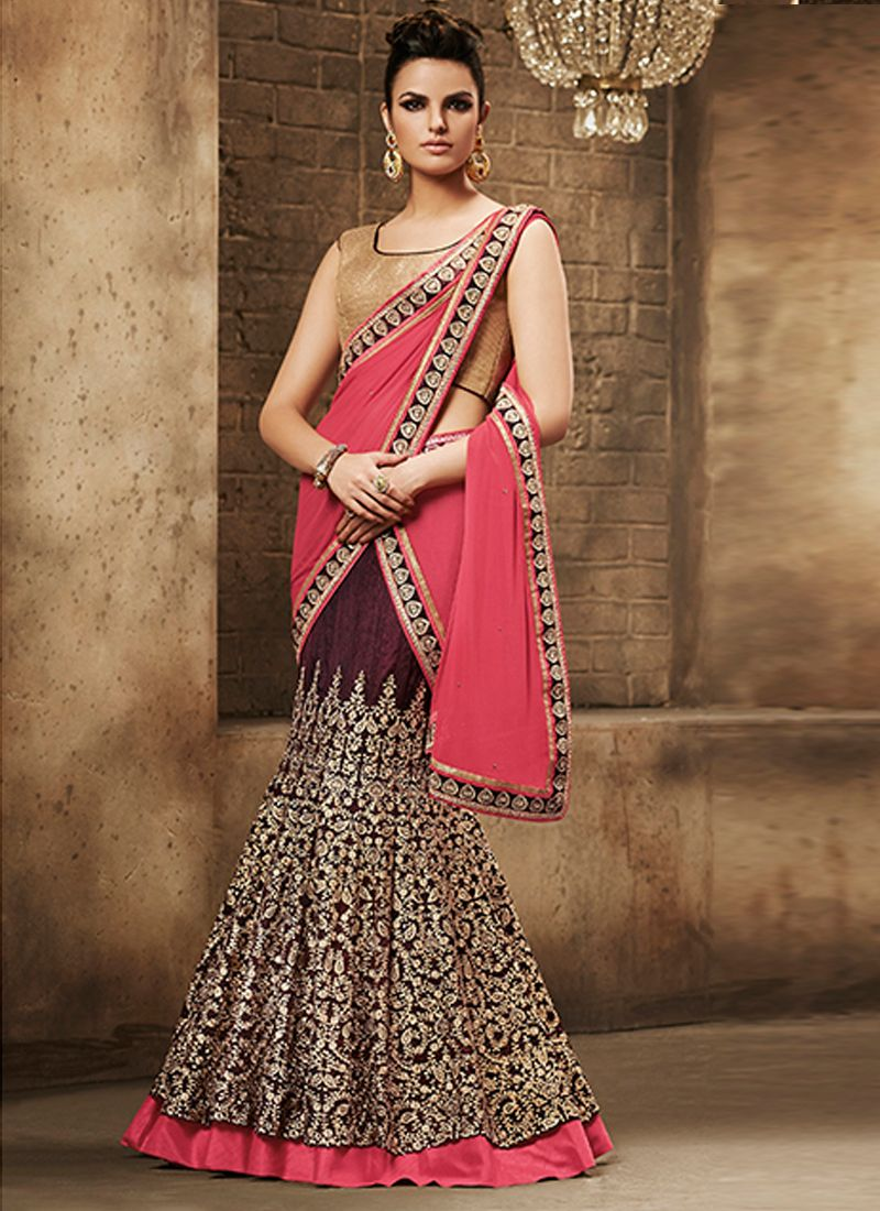 Silk saree lehenga enchanting georgette patch border work lehenga saree  lehenga style