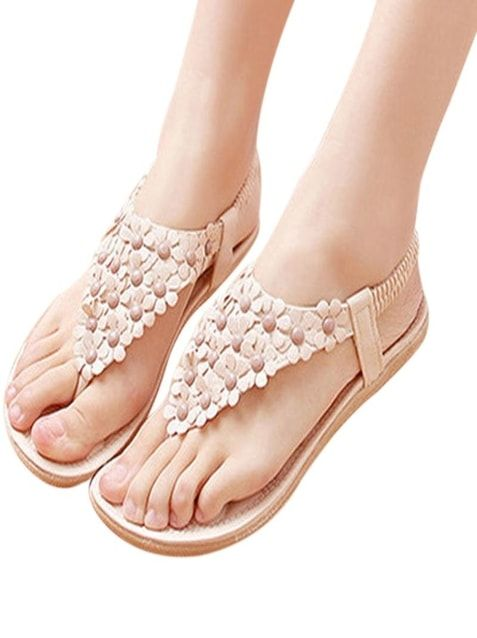 Ladies Flat Sandals With Flowers Style