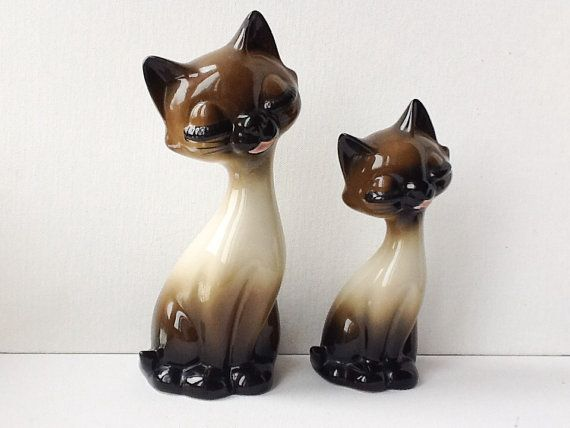 Reserved Siamese Cat Figurines Pair Of Large Vintage Long Necked Cat Figures Kitsch Ceramic Cats Gift F Siamese Cats Siamese Cats For Sale Cats And Kittens
