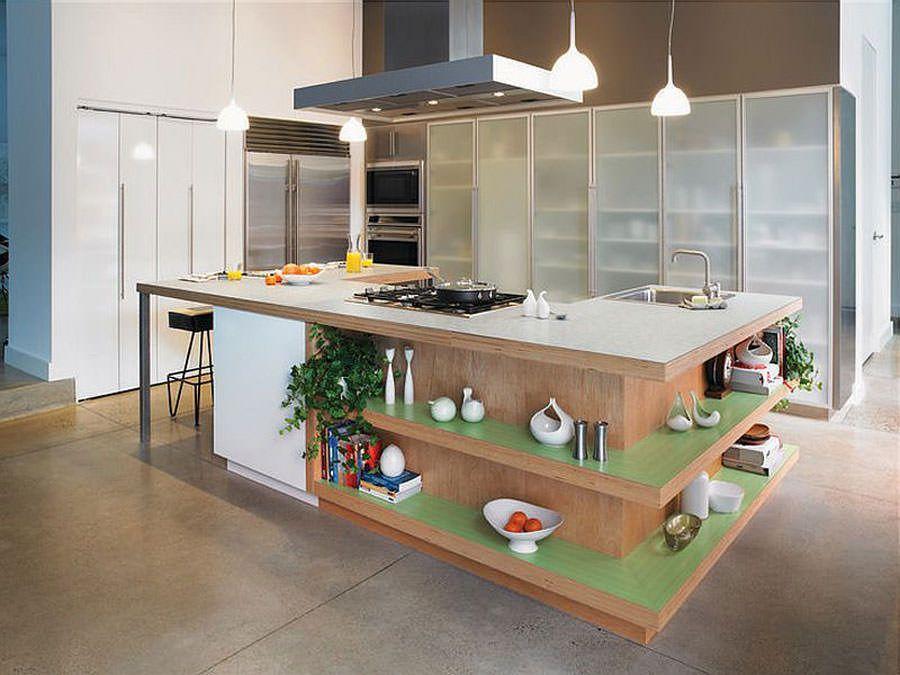 Cucina con isola con ripiani a giorno n.01   Cucine   Pinterest