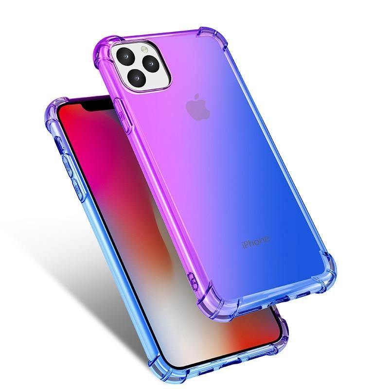 Rainbow silicone case for iphone 11 pro gradient clear