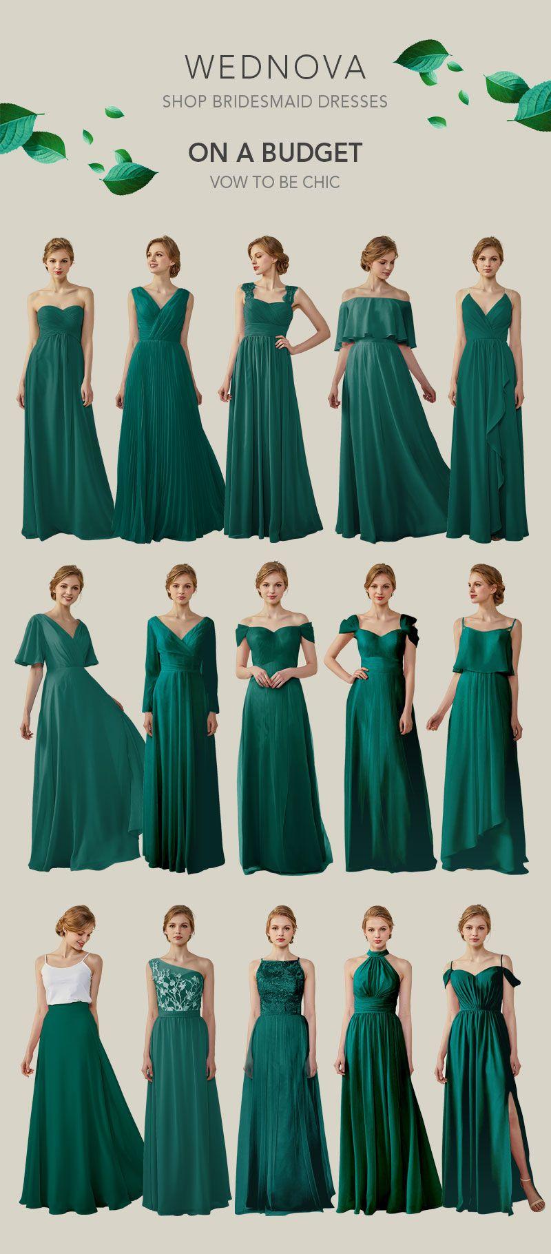 Long dark green dress  Popular chiffon bridesmaid dresses a line dark green dress all