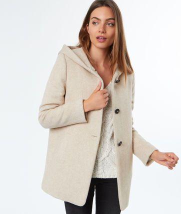 code promo 40993 80fec Manteau 3/4 à capuche en laine mélangée - ANDY | Manteau ...