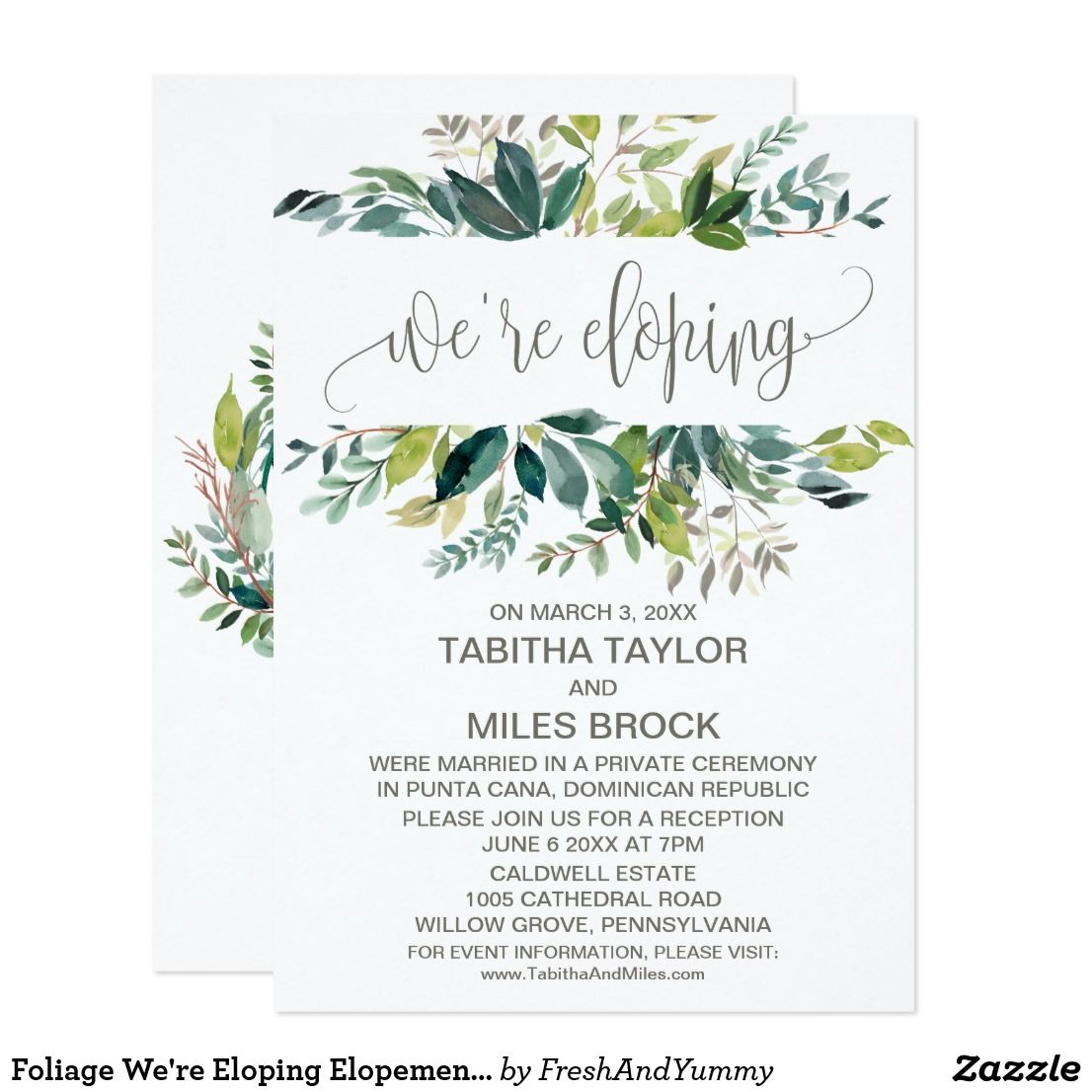Wedding decorations set october 2018 Foliage Weure Eloping Elopement Reception Invitation in