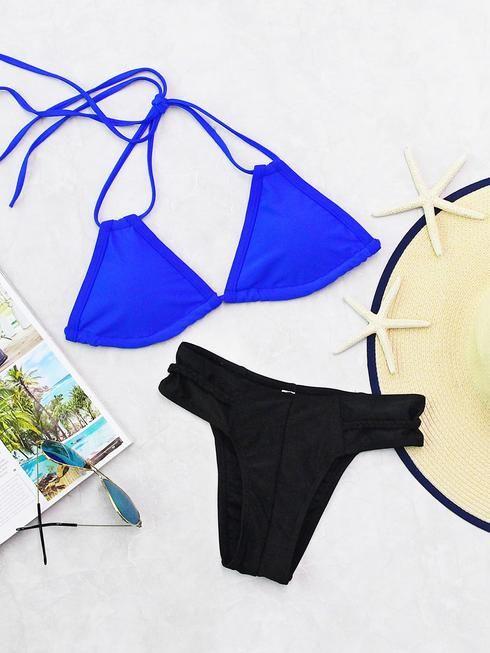 Two Tone Braided Detail Mix & Match Bikini Set
