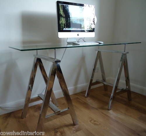 Chrome 'A' Frame Glass Top Trestle Console Table Desk