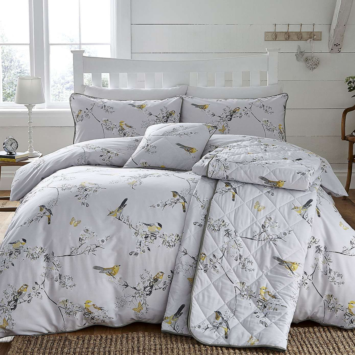 Beautiful Birds Ochre Bed Linen Collection Dunelm