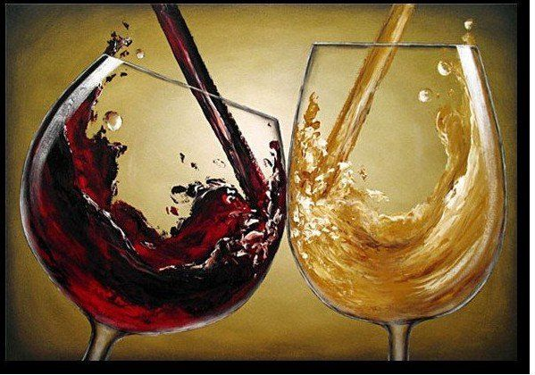 hand painted wall art beautiful red wine out of glass home ...