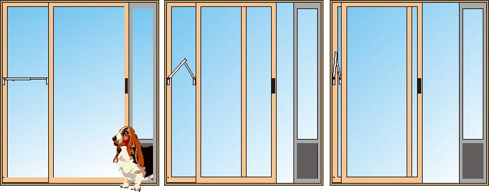 Patio Door With Pet Door Panel And Lockking Security Bar New Ideas