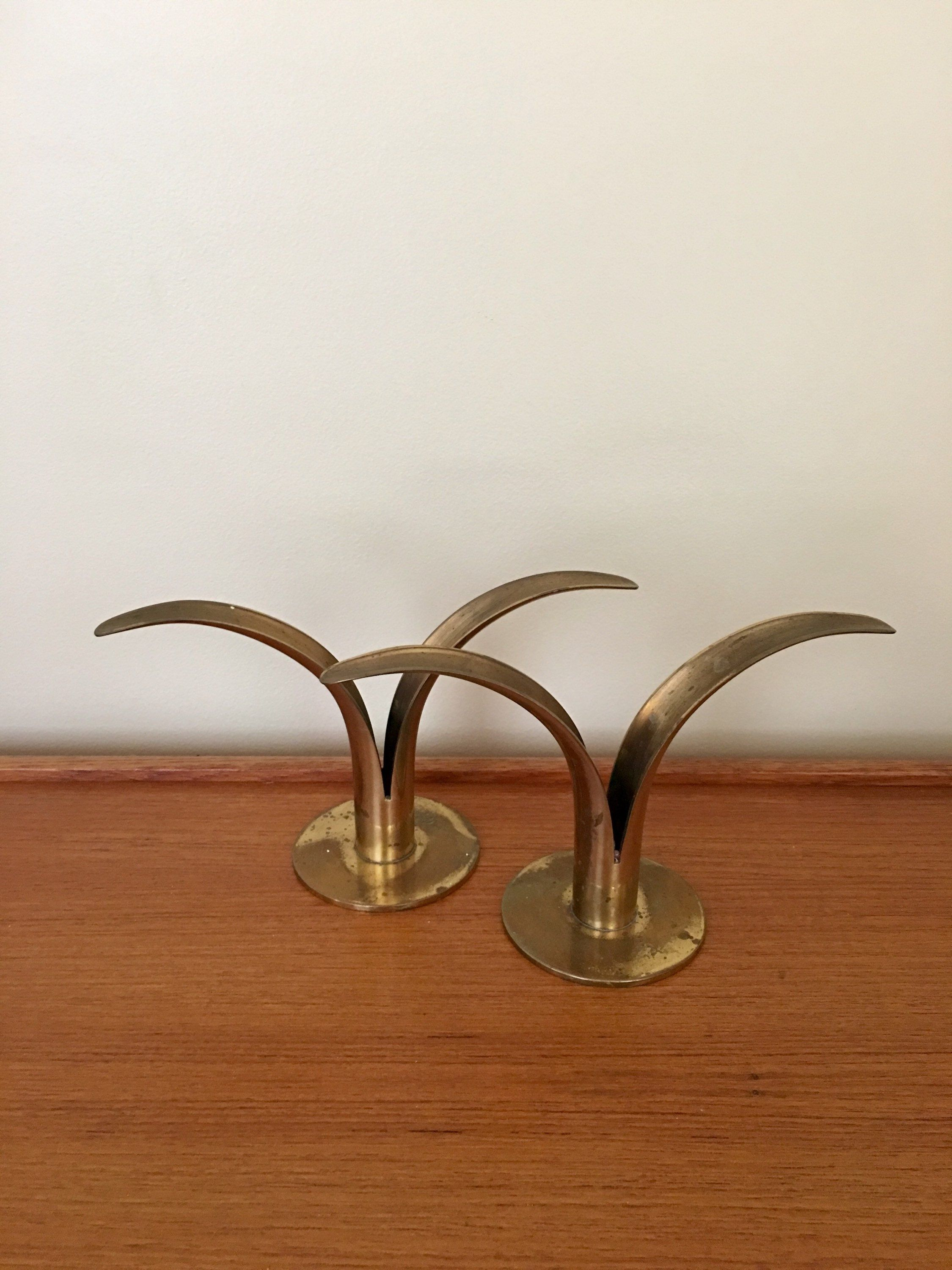 Vintage brass konst of sweden lily candleholder pair set of konst