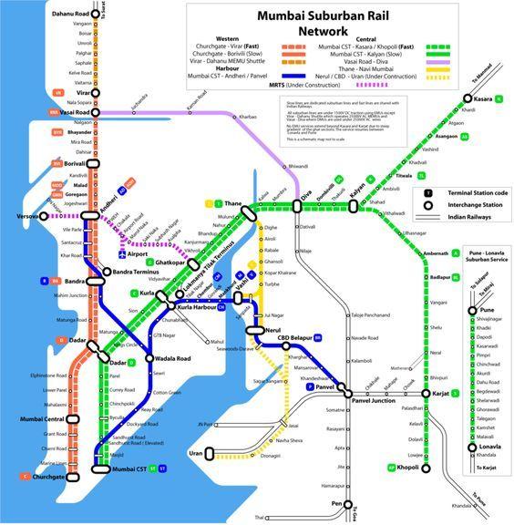 Metro De Mumbai Carte De Train Inde Et Transport