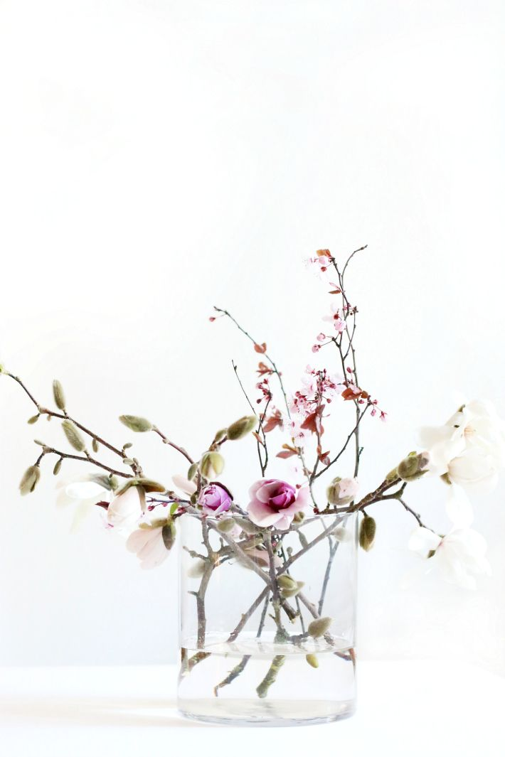 Diy blossoming branch arrangement spring blooms http for Floral arrangements with branches