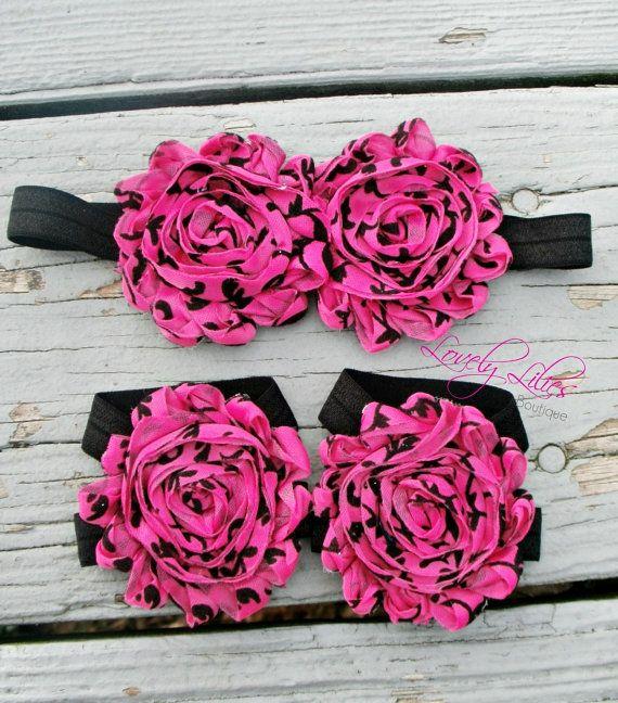 20%OFF .. Baby Headband .. Baby Barefoot Sandals ...Newborn Headband .. Newborn Sandals.. Hot Pink Damask