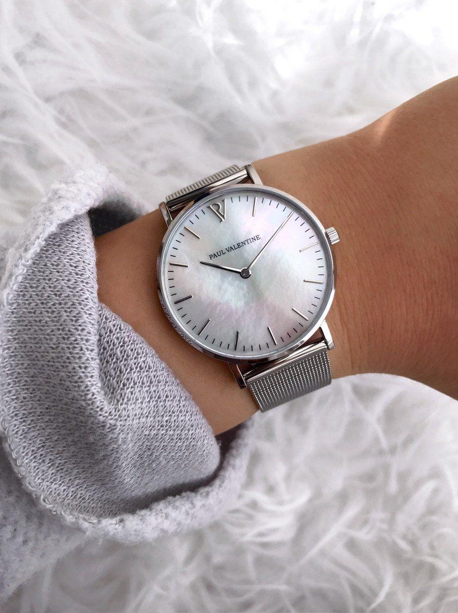 Silver Seashell Mesh Jewelry Armbanduhr Damen Silber Paul