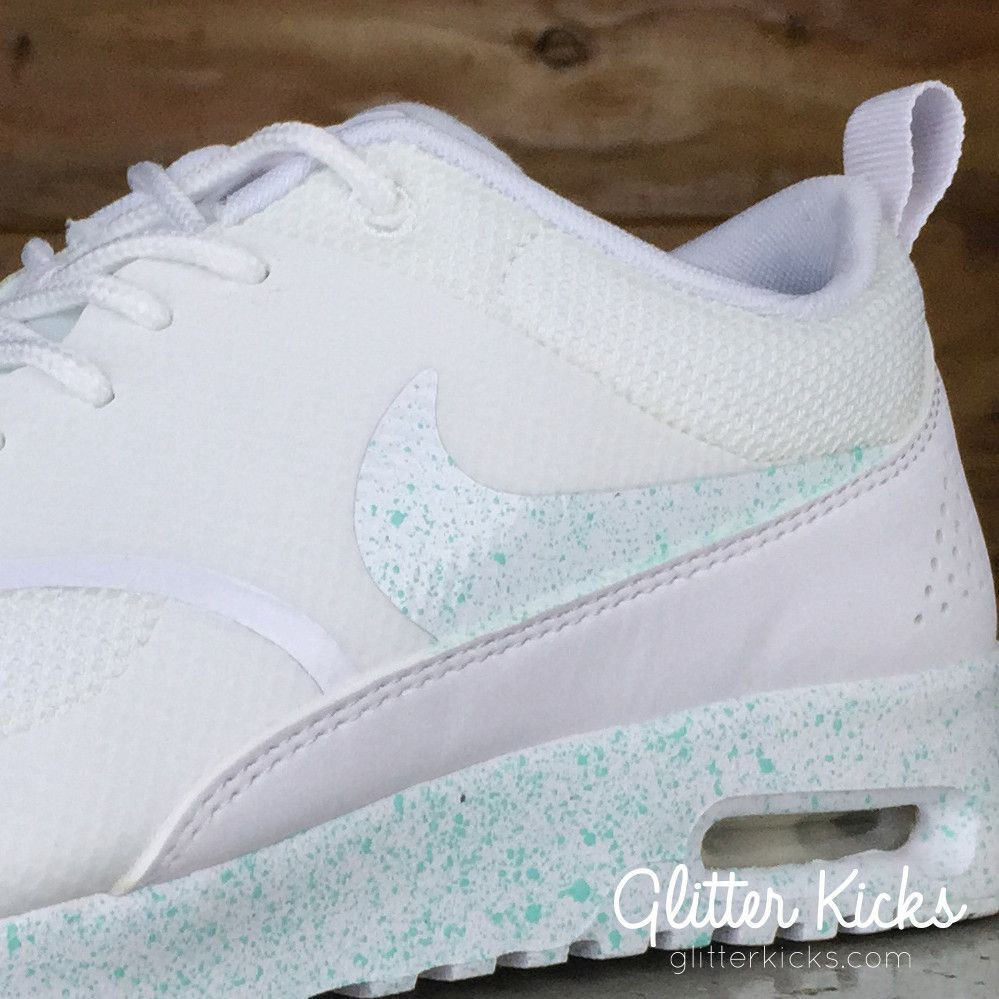 Nike Air Max Thea Running Shoes By Glitter Kicks - White White Mint Paint  Speckle 4005b828f4