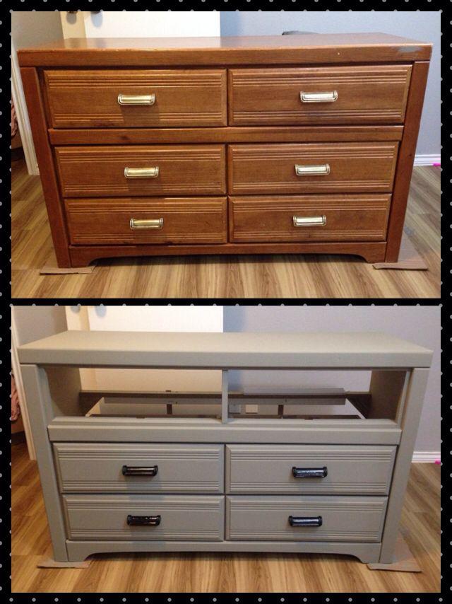 Have an old dresser Need an entertainment center A little bit of