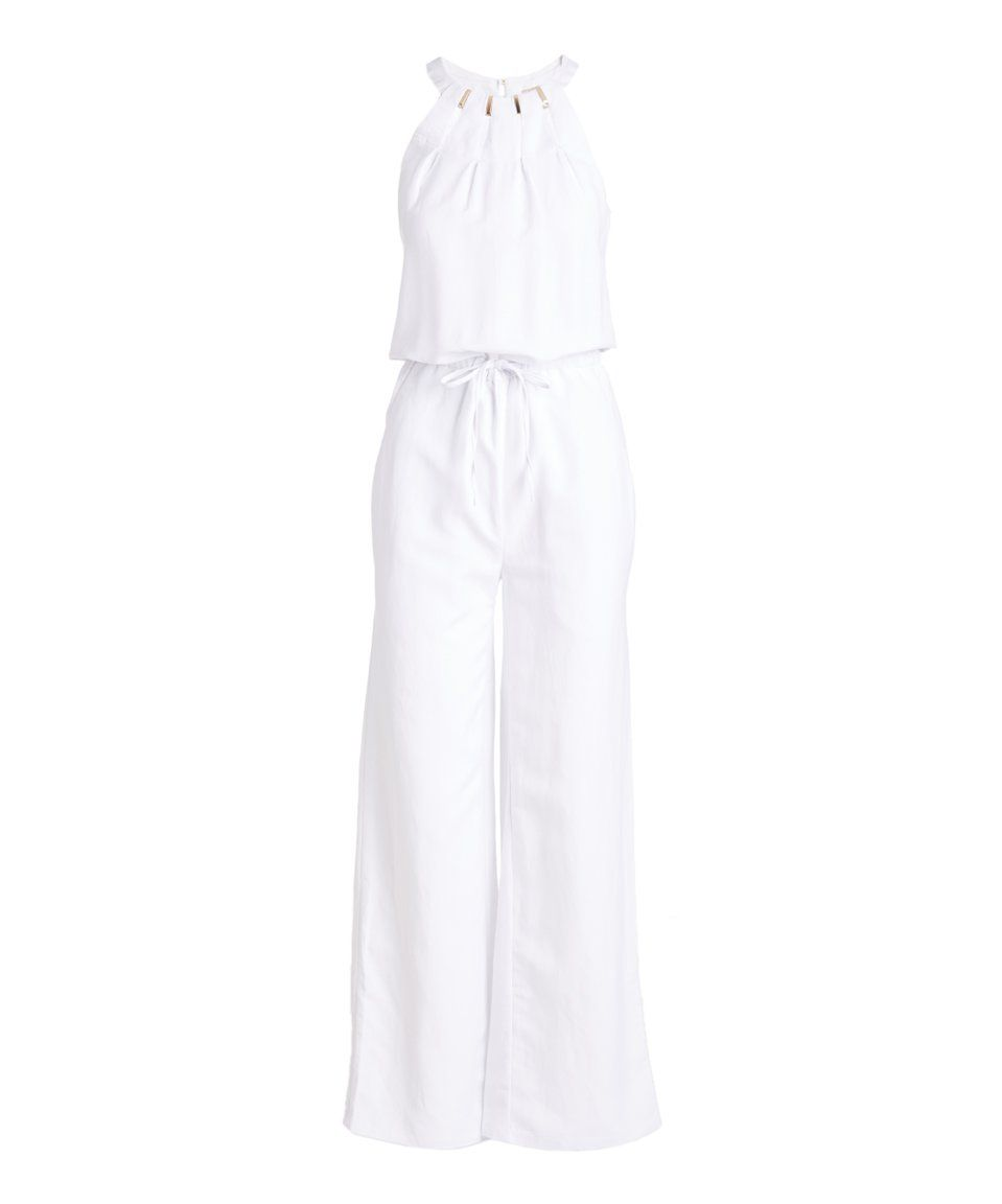 Take a look at this Appraisal White Linen-Blend Ruffle-Accent Long-Sleeve Jumpsuit today!