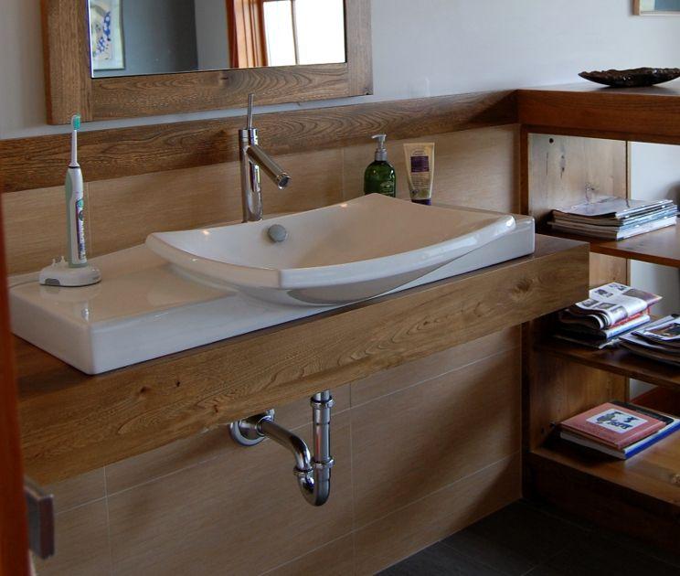 Thick Reclaimed Ash Finds New Life As A Bathroom Countertop Custom Bathroom Pinterest