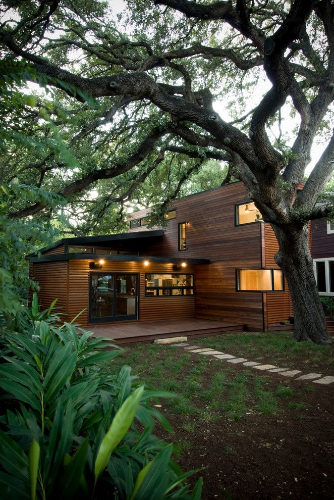 Modern Simple Wood House Windows Door Lighting Pathway Tree Soil Contemporary Exterior Of Cool Wooden House Design Building A Container Home Unique House Plans