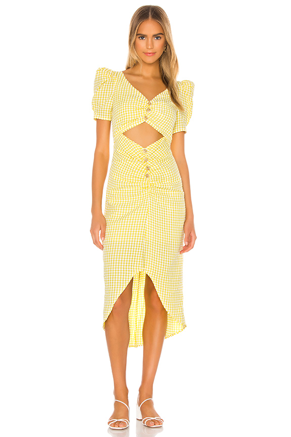 Lena Midi Dress in Yellow Gingham   Song of Style