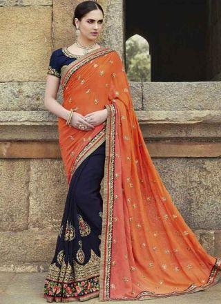 Orange Navy Blue Embroidery Booti Work Georgette Wedding Half Sarees http://www.angelnx.com/Sarees/Wedding-Sarees