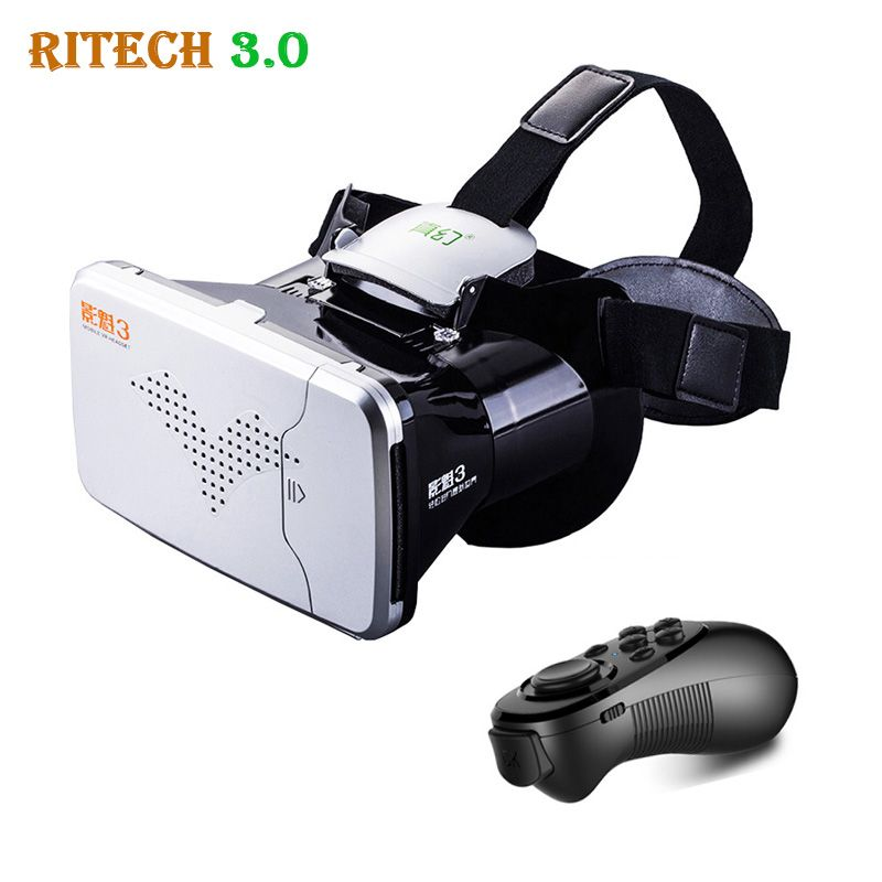 09c47a567e17 RITECH III VR Virtual Reality 3D Glasses Headset Head Mount VRBOX Max  Cardboard Movie Game + Bluetooth Remote Controller Price  USD 21.11