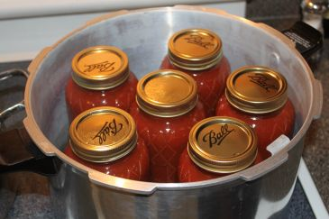 ^ quarts of homemade pasta sauce sit in the pressure canner