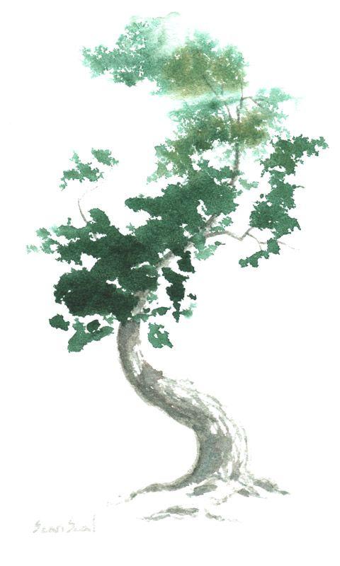 Nice Grays And Greens Not Too Dense Full Re Foliage Bonsai Tree Tattoos Water Art Fantasy Drawings