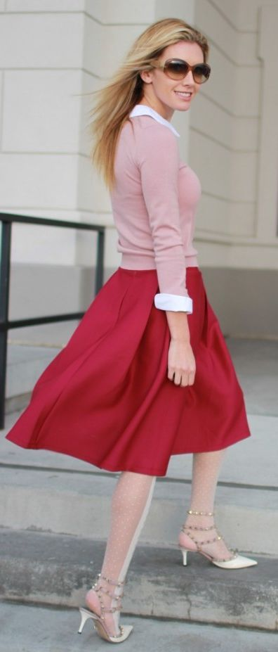 Chicwish A-Line Midi Burgundy Skirt by Bird a la mode