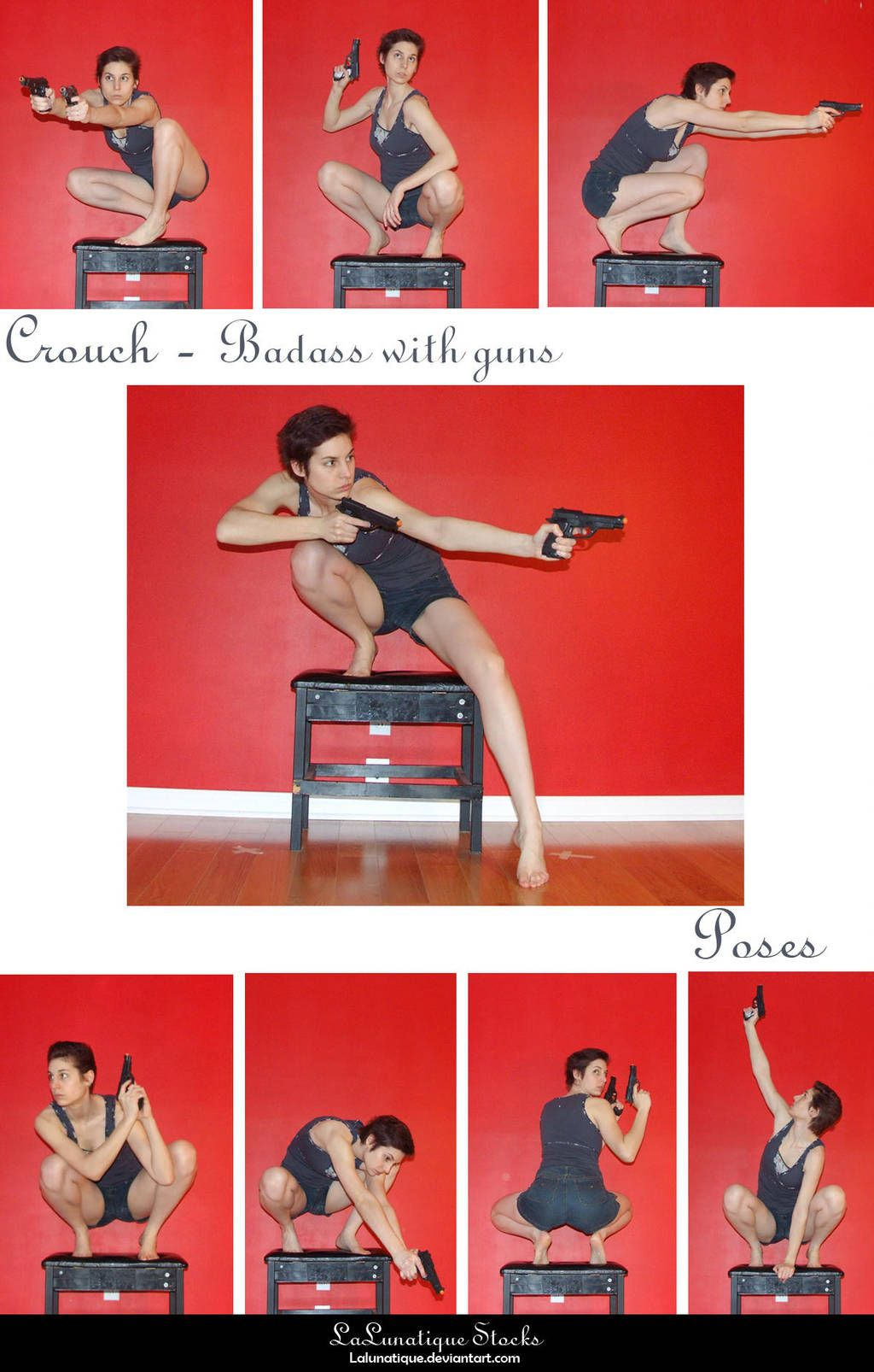 Stock Crouch Badass With Guns By Lalunatique Human Poses Reference Figure Drawing Poses Pose Reference Photo