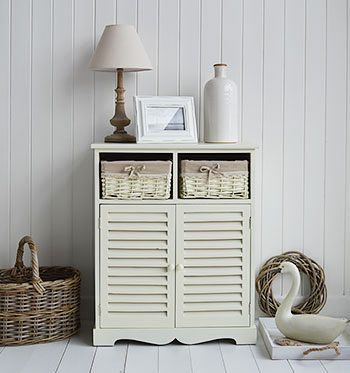 Hamptons Cream Large Cabinet With Baskets For Living Room Furniture