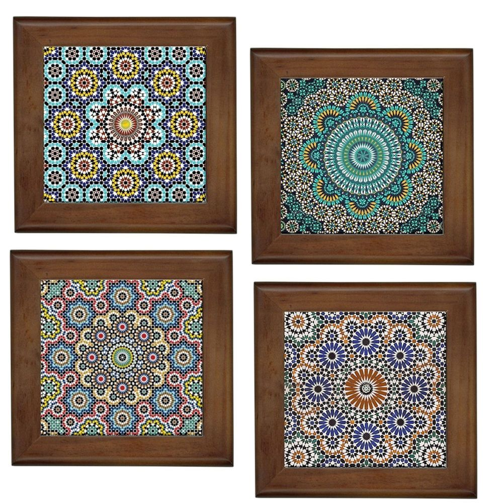 Moroccan Patterns Home Decorative Ceramic Framed Tile Wall Art Plaque Hang Stand Tile Wall Art Wall Art Plaques Ceramic Framed