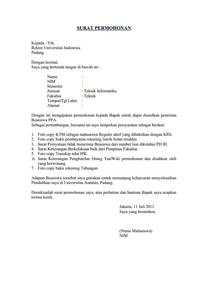 Contoh Surat Pengajuan Permohonan Contoh Surat Permohonan