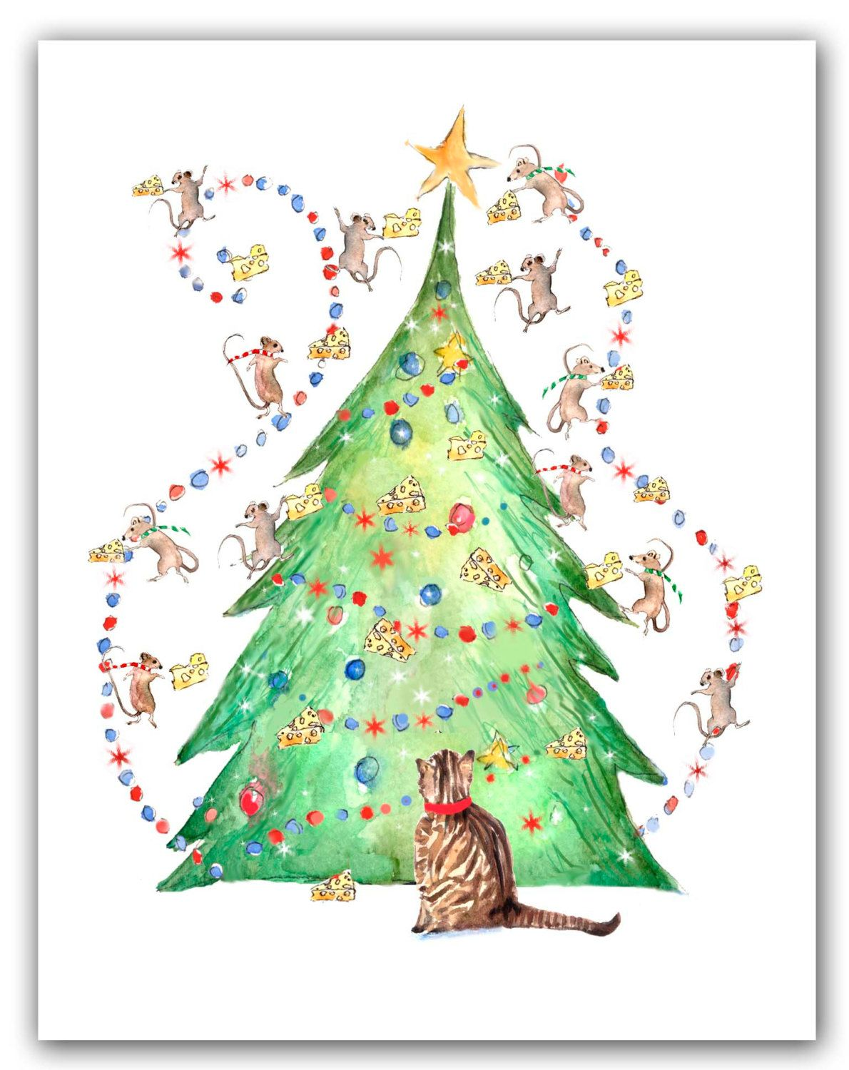 Cat with mice tree Christmas cards. 10 cat holiday cards, funny cat ...