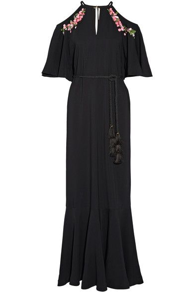 Black stretch-crepe Button-fastening keyhole at back  96% viscose, 4% elastane; lining: 100% polyester Dry clean Imported