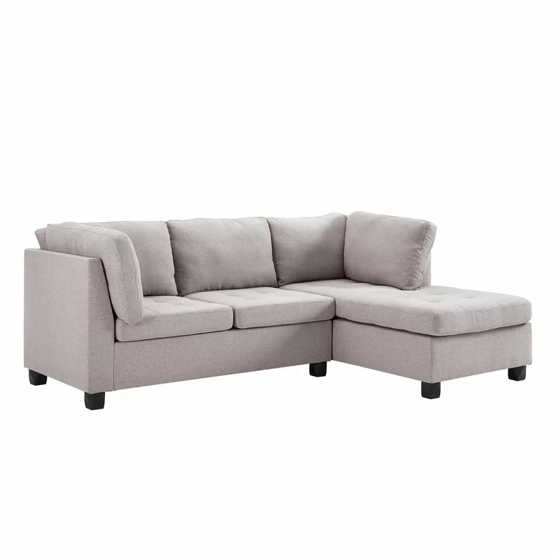 2 Piece Tufted Fabric Sectional Sofa Set With Chaise Light Grey Sectional Sofa Fabric Sectional Sofa Set