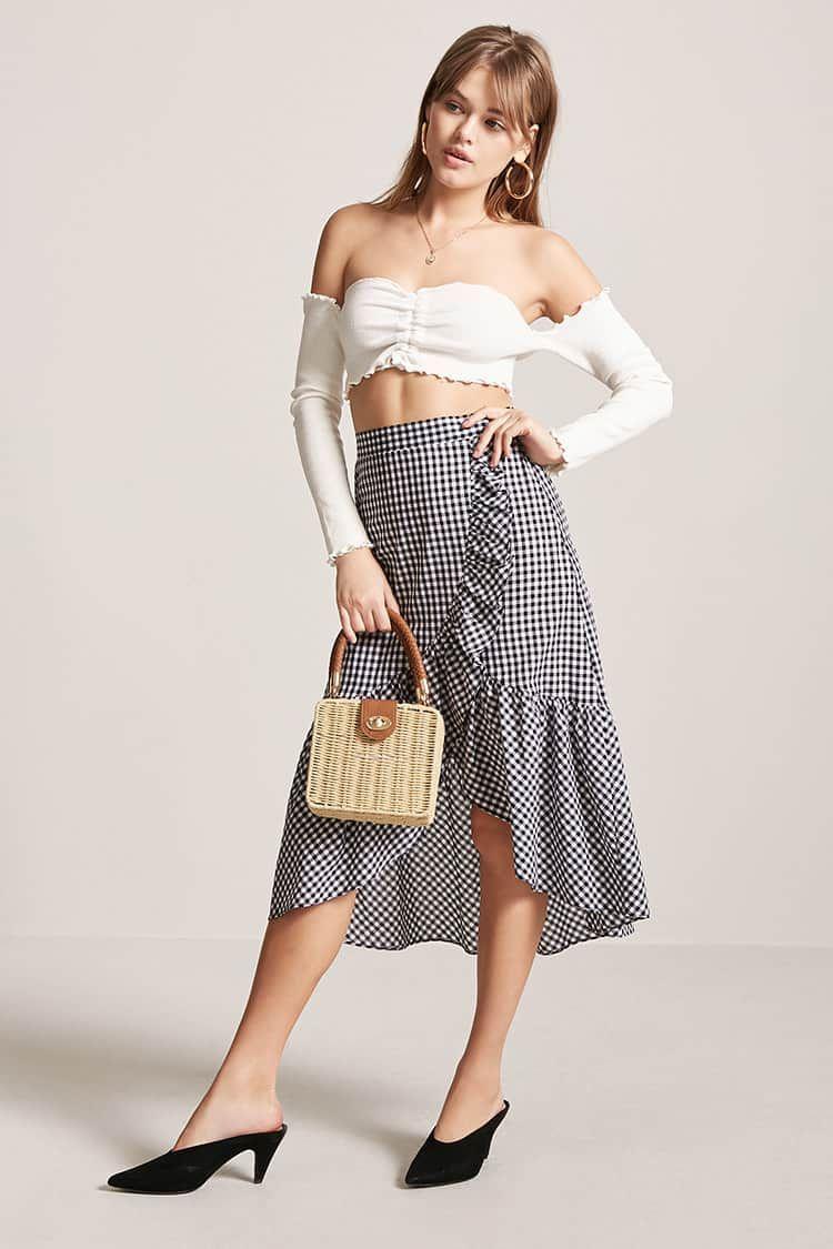 Falda Asimétrica Cuadros Vichy - Mujer - Pantalones + Faldas ...