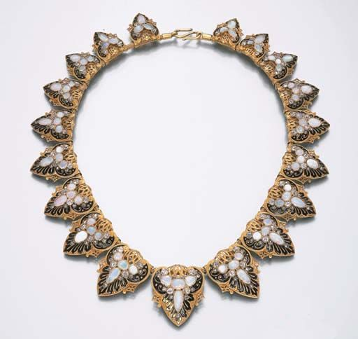 AN ART NOUVEAU OPAL NECKLACE  Designed as opal, diamond and black enamel graduated palmettes, with openwork detail, mounted in gold, circa 1895, 36.2 cm | JV