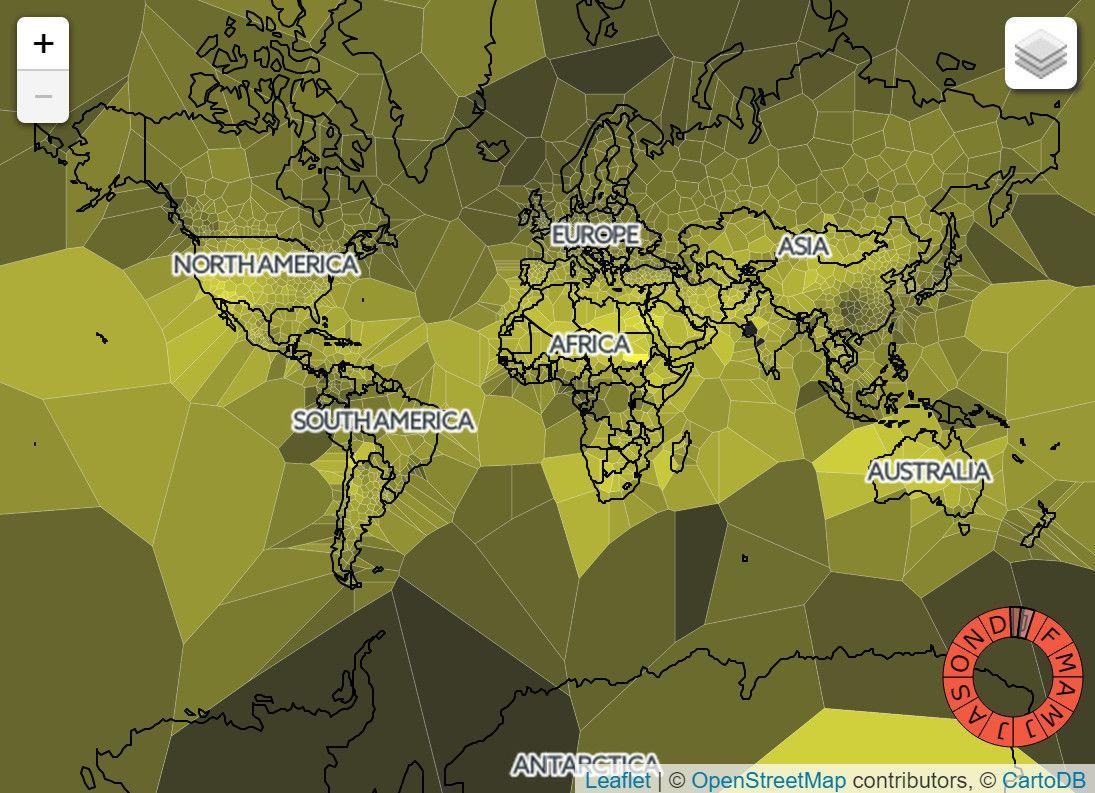 Sunshine Daily High Precipitation Maps Vivid Maps Interactive Map Digital Cartography Voronoi Diagram