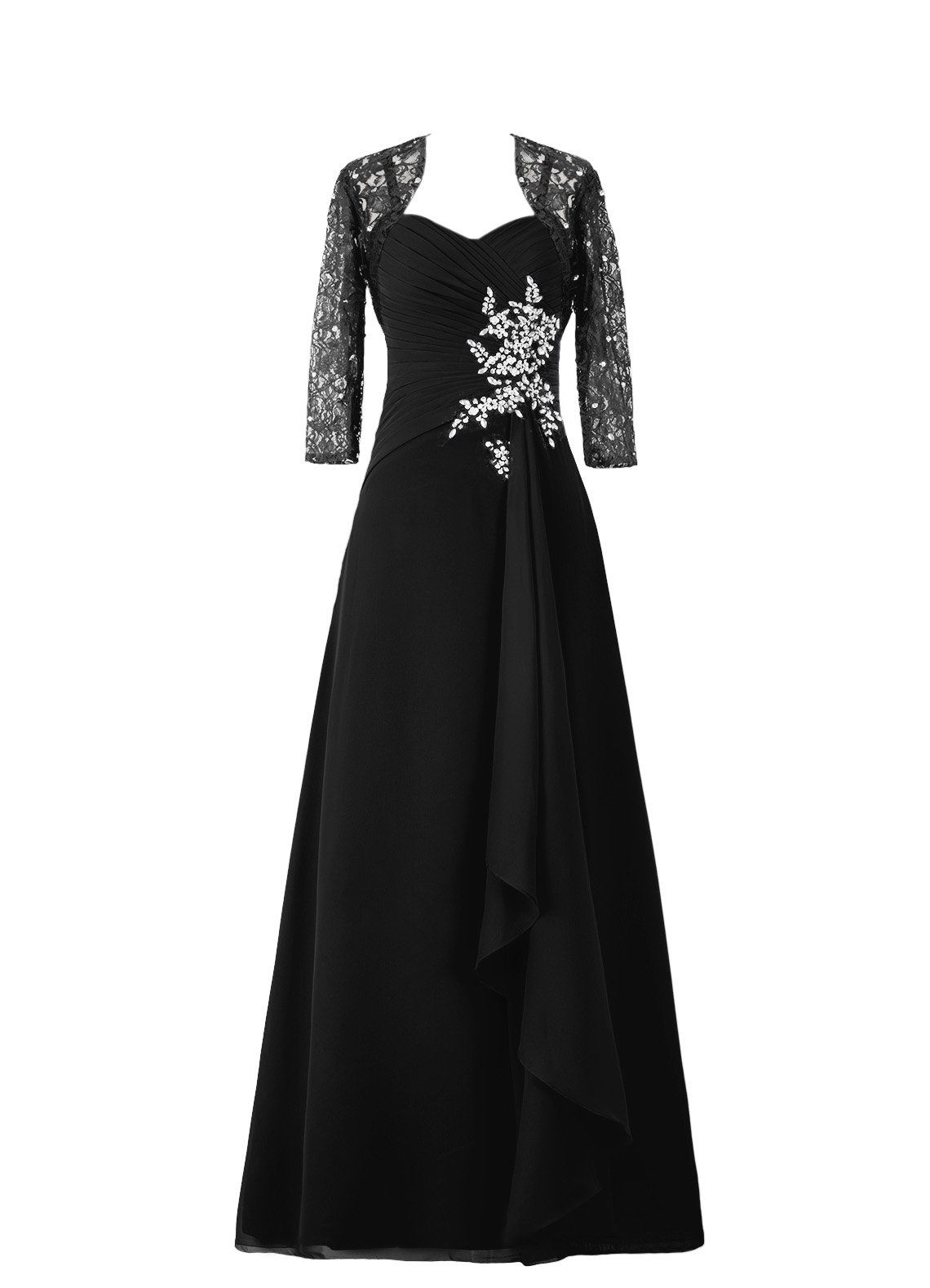Diyouth long asymmetric lace flower sleeves mother of the bride