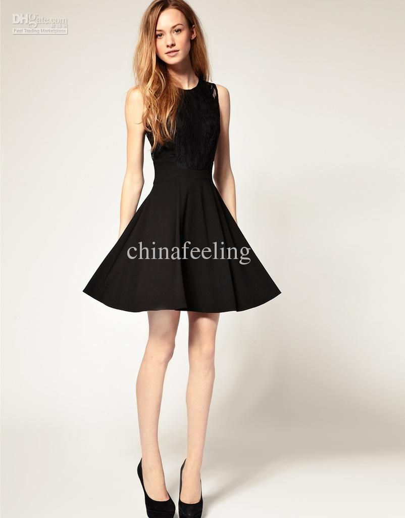 women casual Audrey Hepburn Classic black dress elegant lace patchwork slim  sleeveless knee-length girl's dress S M L XL