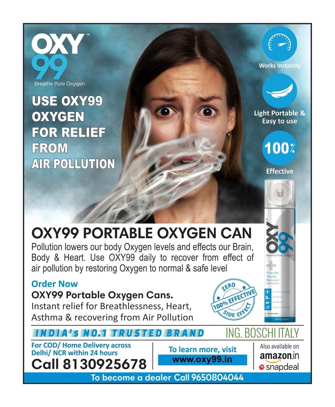 Use OXY99 oxygen for relief from Air Pollution.Order Now