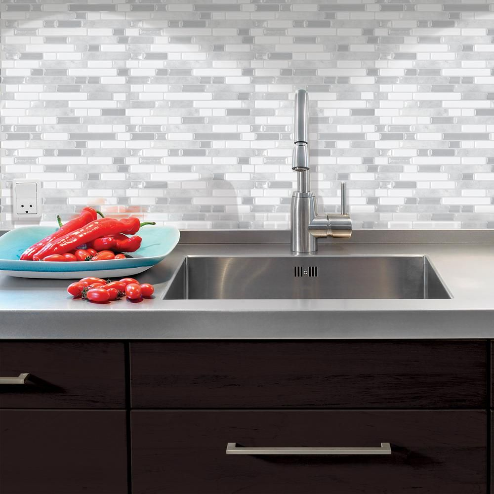 Smart Tiles Bellagio Blanco 10.06 in. W x 10 in. H Peel and Stick ...