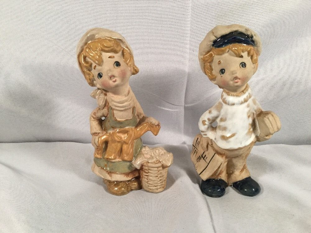 VERY RARE Pair Vintage Lefton Japan School Boy Laundry Girl Figurine Ceramic Vtg | Collectibles, Decorative Collectibles, Decorative Collectible Brands | eBay!