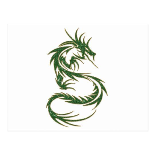 Green Tattoo Dragon Postcard | Zazzle.com