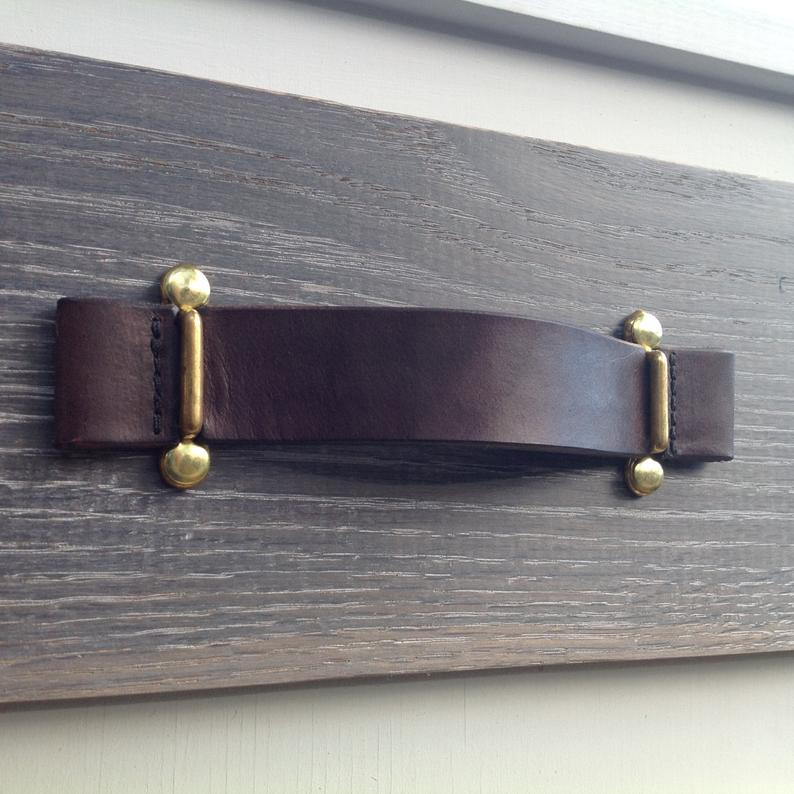 Dark Brown Leather Pull With Brass Brackets In 2020 Leather