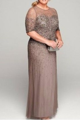 Adrianna Papell Beaded Illusion Gown Mother of Bride Dress in Lead