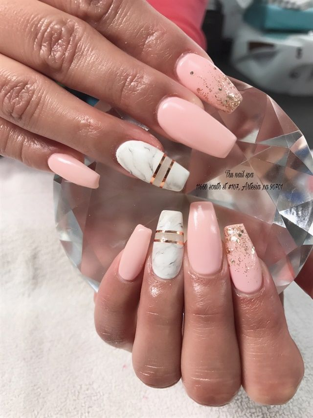 Day 255: Nude & Marble Nail Art - Day 255: Nude & Marble Nail Art Accent Nail Art Pinterest